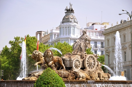 Majestic Cibeles Fountain on Plaza de Cibeles in Madrid, Spain Stock Photo - 19991919