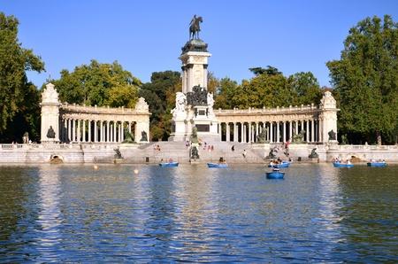 Estanque Grande in Retiro Park the biggest park in Madrid, Spain Stock Photo