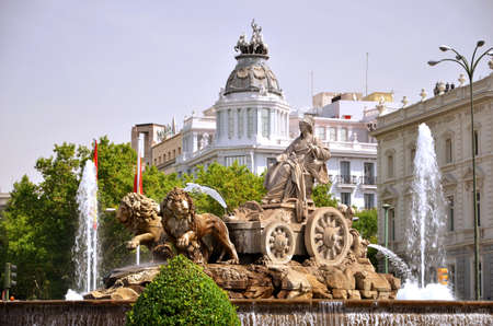 Majestic Cibeles Fountain on Plaza de Cibeles in Madrid, Spain photo