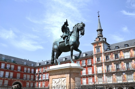 Majestic monument of the King Philip III on Plaza Mayor in Madrid, Spain