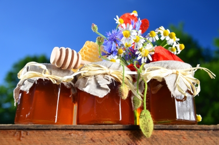 three jars full of delicious fresh honey, piece of honeycomb honey dipper and wild flowers in apiary against blue sky photo