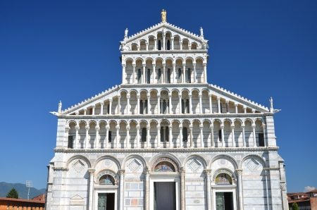 ade: Façade of cathedral on Square of Miracles in Pisa, Italy