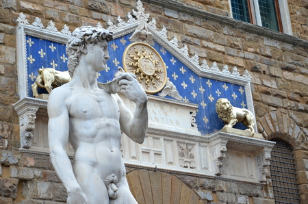 The statue of David by Michelangelo on the Piazza della Signoria in Florence, Italy 免版税图像