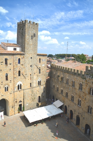 volterra: Picturesque view on historic buildings of Volterra in Tuscany, Italy Editorial