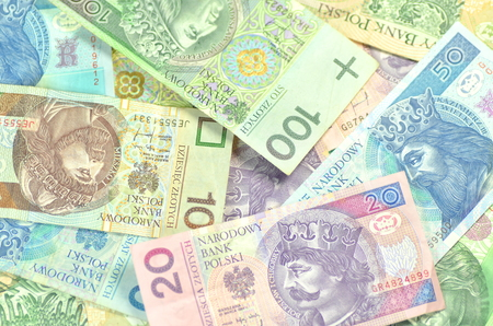 variety of zloty banknotes from poland 免版税图像