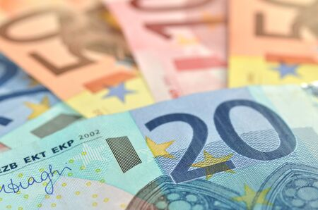 eur: variety of euro banknotes