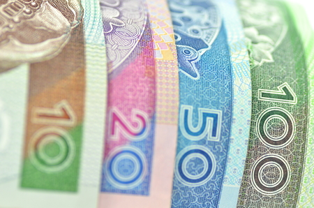 variety of zloty banknotes from Poland Banque d'images