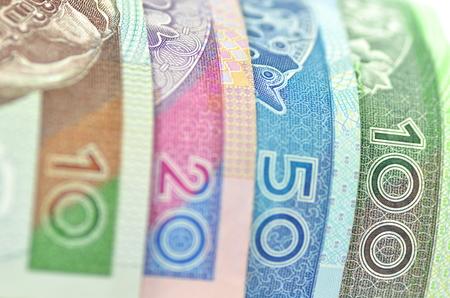 Vielzahl von Zloty-Banknoten aus Polen Lizenzfreie Bilder