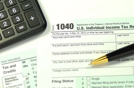 closeup of us tax form photo