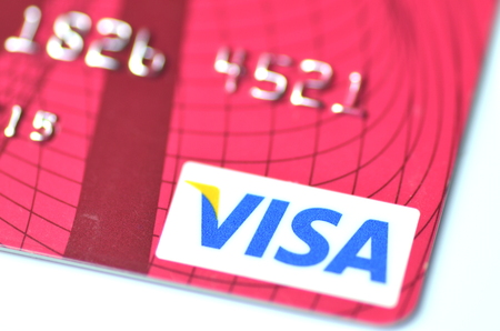 Primo piano della carta di credito VISA Archivio Fotografico