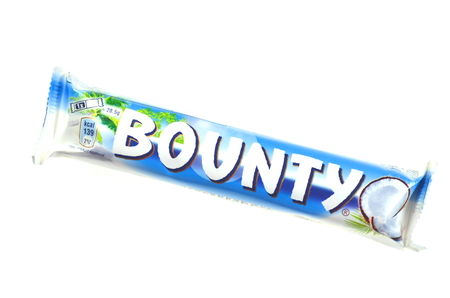 Bounty coconut chocolate bar isolated on white background