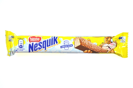 nestle: Nesquik chocolate bar isolated on white background