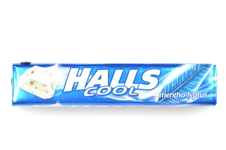 Halls cough drops isolated on white background