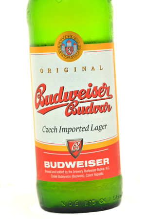 budvar: Budweiser lager beer isolated on white background