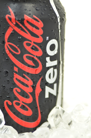 Can of Coca-Cola Zero drink on ice