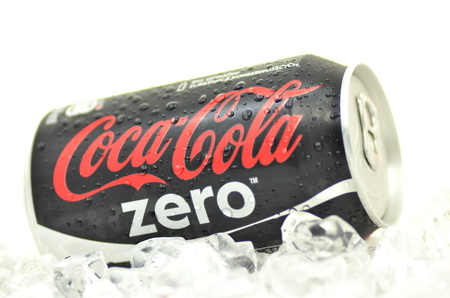 dewed: Can of Coca-Cola Zero drink on ice Editorial