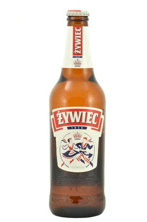 packshot: Zywiec beer isolated on white background Editorial