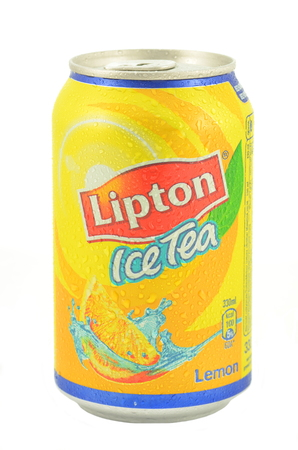 dewed: Can of Lipton Ice Tea drink isolated on white