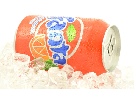 dewed: Can of Fanta drink on ice   Editorial