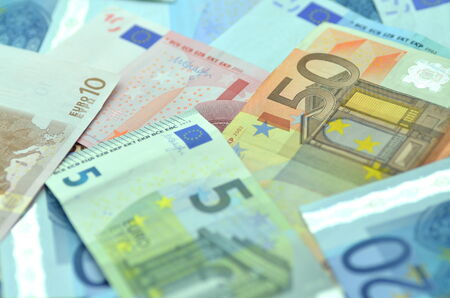 variety of euro banknotes