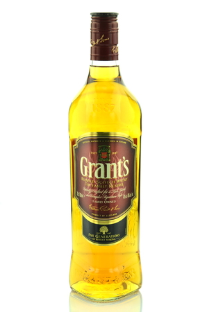 grants: Grants blended whisky isolated on white background Editorial