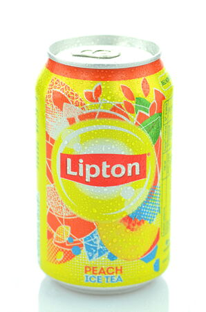 dewed: Lipton Ice Tea drink isolated on white background Editorial