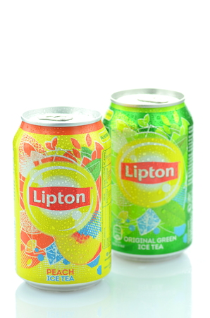 Lipton Ice Tea drink isolated on white background Editorial