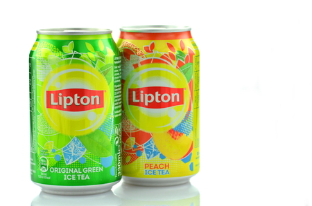 lipton ice tea drink in a can isolated on white background stock