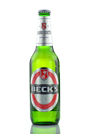 Beck s beer isolated on white background