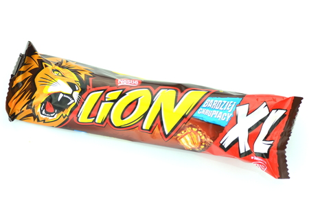 Lion chocolate bar isolated on white background