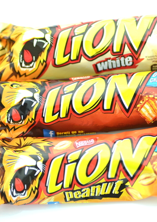 packshot:  Lion chocolate bars isolated on white background  Editorial