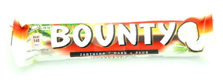 bounty: Bounty coconut chocolate bar isolated on white background