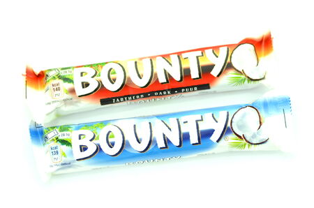 bounty: Bounty coconut chocolate bars isolated on white background
