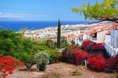 pittoresco paesaggio eccezionale di splendida localit� playa de las americas a Tenerife, Isole Canarie, Spagna Archivio Fotografico