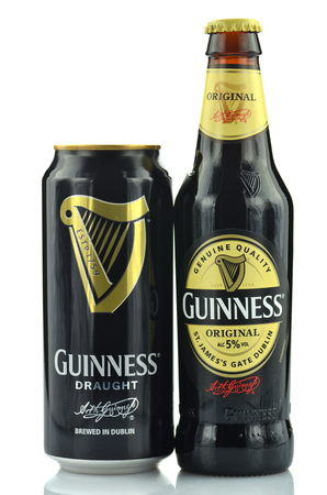 guinness beer: Guinness dry stout beer isolated on white background Editorial