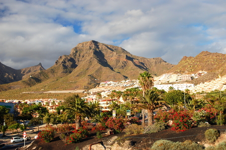 superb: picturesque outstanding landscape of beautiful resort playa de las americas on tenerife, canary islands, spain