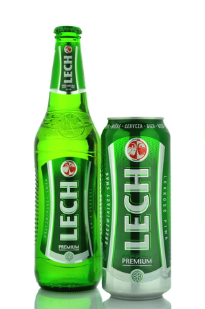 packshot:  Lech pale lager beer isolated on white background