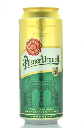 packshot:  Pilsner Urquell pale lager beer isolated on white Editorial