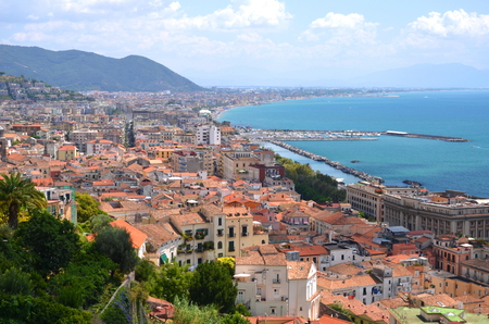 picturesque landscape of salerno in campania region, italy 免版税图像