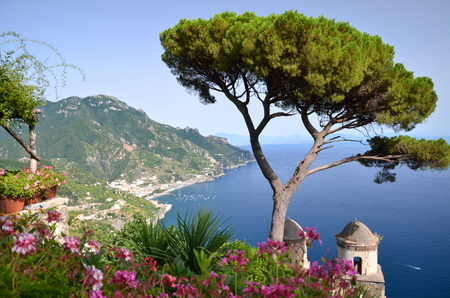 Picturesque landscape of famous Amalfi Coast, view from Villa Rufolo in Ravello, Italy