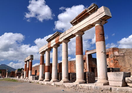 famous antique ruins of town pompeii in southern italy photo
