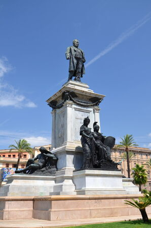 minister: The monument of Camillo Cavour first prime minister of Italy on Piazza Cavour in Rome, Italy Stock Photo