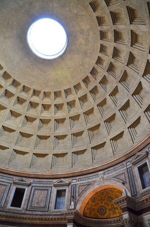 pantheon: Interior of Majestic Pantheon in Rome, Italy