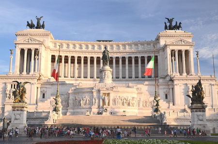 altar of fatherland: Majestic Altar of the Fatherland in sunset light in Rome, Italy