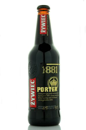 porter: Zywiec porter beer isolated on white background