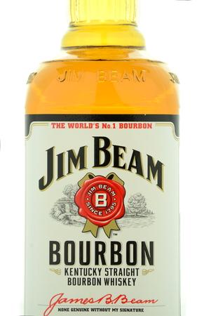 bourbon: Jim Beam bourbon whiskey isolated on white background