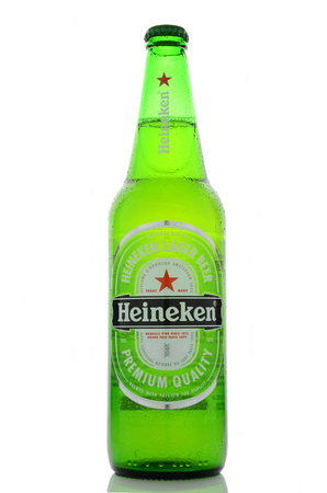 Heineken lager beer isolated on white background Editorial