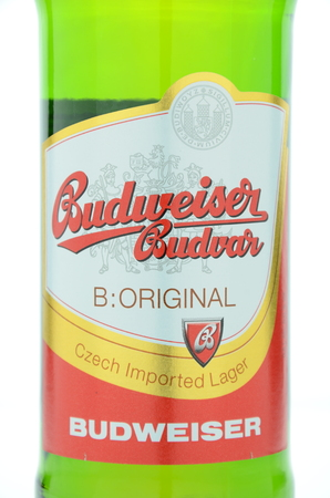 budvar: Budweiser lager beer isolated on white background