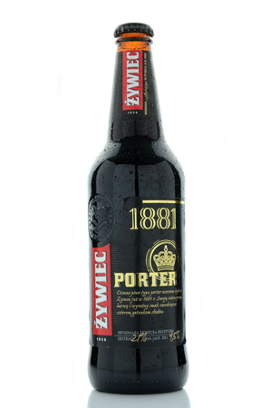 porter: Zywiec porter beer isolated on white background. Editorial