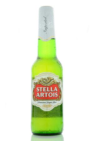 pilsner: Stella Artois pilsner beer isolated on white background.